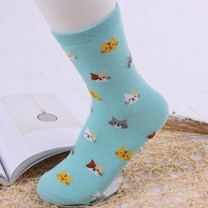 Turquoise Cat Socks